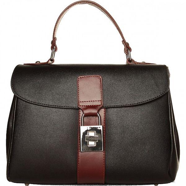 Dámská černá kabelka Made in Italia s hnědými detaily