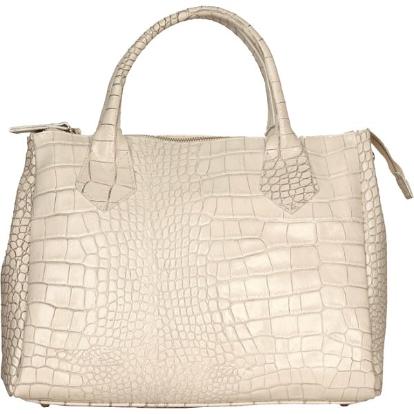Dámska biela kabelka Made in Italia s hadím vzorom