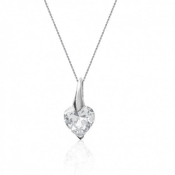 Dámský stříbrný náhrdelník se zirkonovým srdíčkem La Mimossa