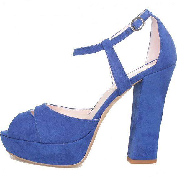 Dámske žiarivo modré sandálky Made in Italia