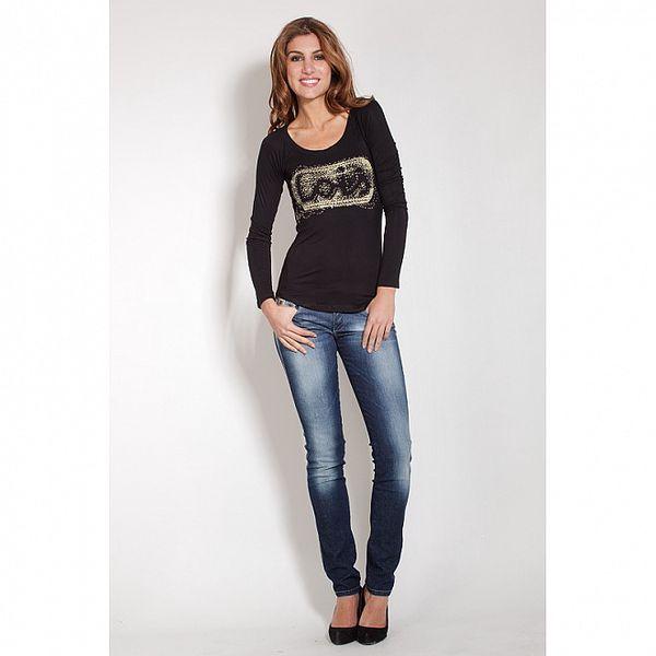 Dámské černé tričko Lois se zlatým potiskem a korálky