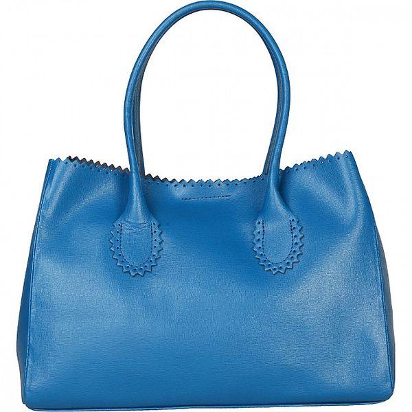 Dámska svetlo modrá kožená kabelka Made in Italia s ozdobným lemom