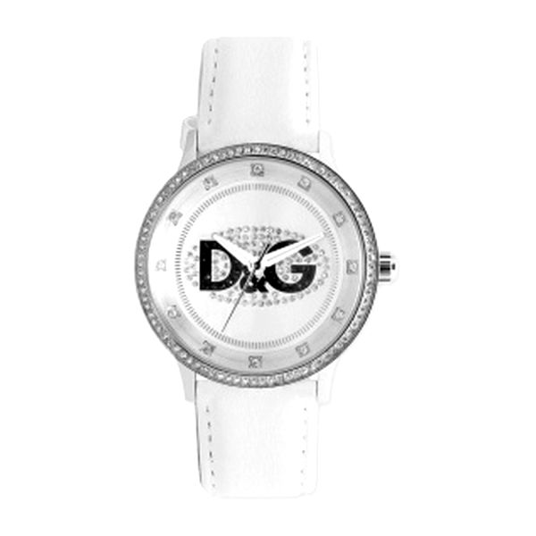 Dámské hodinky Dolce&Gabbana bílý pásek se zirkony