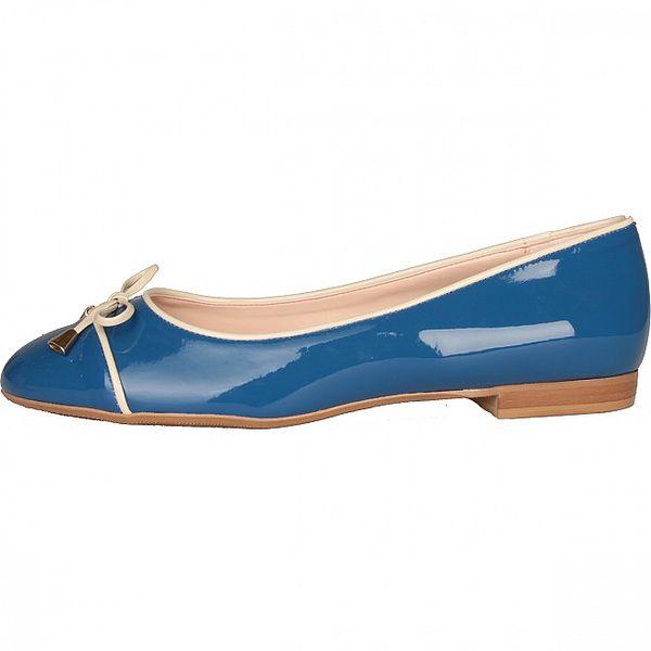 Dámské světle modré lakované baleríny Made in Italia s béžovým lemem