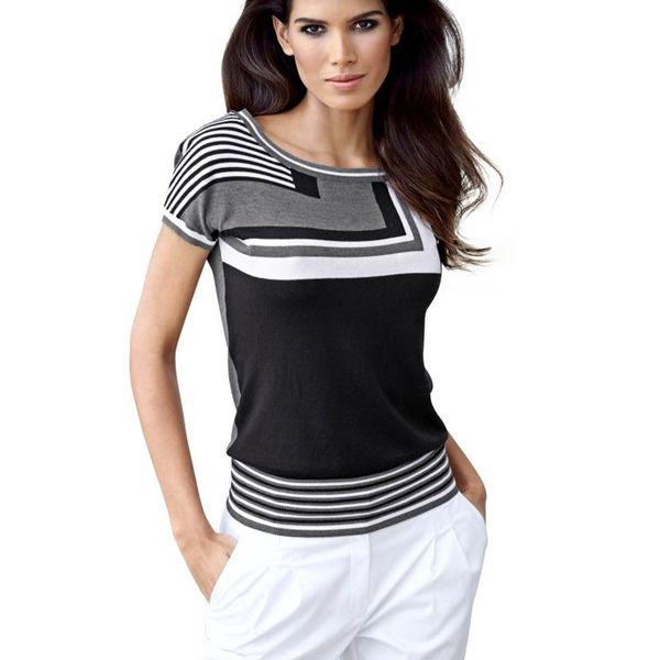 Černý svetr, Best Connections - Jemný úplet s módním potiskem a zajímavými krátkými batwing rukávy
