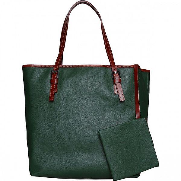 Dámska tmavo zelená kožená kabelka Made in Italia s hnedými ušami