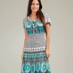 Dámske modro-biele vzorované šaty so sťahovacími ramienkami Anabelle