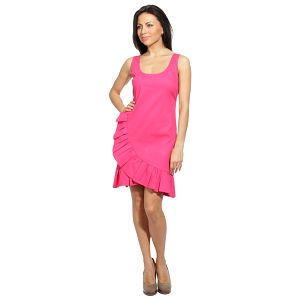 Dámske neónovo ružové šaty s volánom Red Valentino