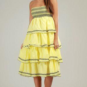 Dámske žlté volánové šaty Anabelle s čiernou čipkou