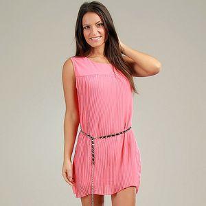 Dámske korálovo ružové plisované šaty Anabelle