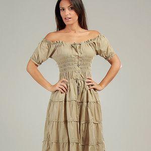 Dámske béžové volánové carmen šaty Anabelle