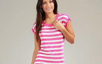 Dámský růžovo-bílý pruhovaný bavlněný top s krajkovými zády Anabelle