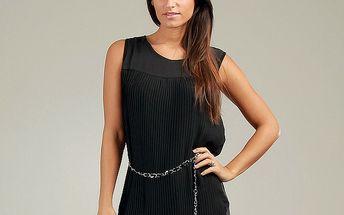 Dámske čierne plisované šaty Anabelle