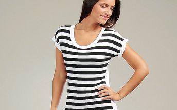 Dámský černo-bílý pruhovaný bavlněný top s krajkovými zády Anabelle