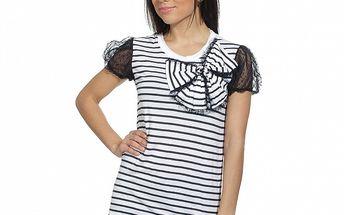 Dámské černo-bílé pruhované triko s krajkou a mašlí Red Valentino