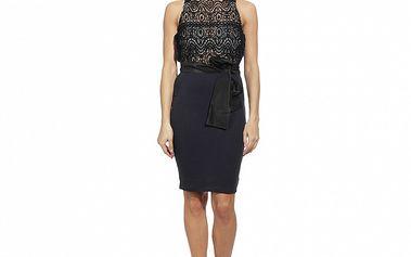 Dámske modro-čierne šaty s čipkovým živôtikom red Valentino