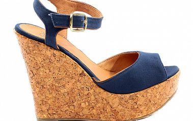 Dámské modré sandále na korkové platfromě Bagatt