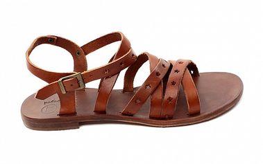 Dámske oranžovo-hnedé kožené sandálky s hviezdičkami Bagatt