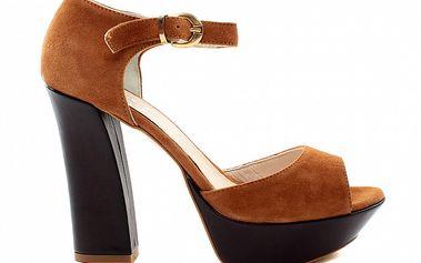 Dámske okrovo-hnedé sandále so zlatou prackouu Bagatt