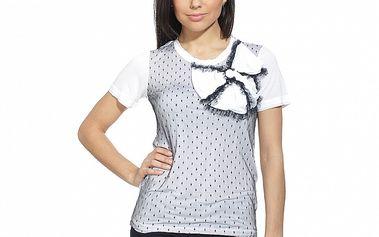 Dámske čierno-biele tričko s mašľou a čipkou Red Valentino