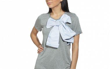 Dámske šedé tričko s bledo modrou mašľou Red Valentino