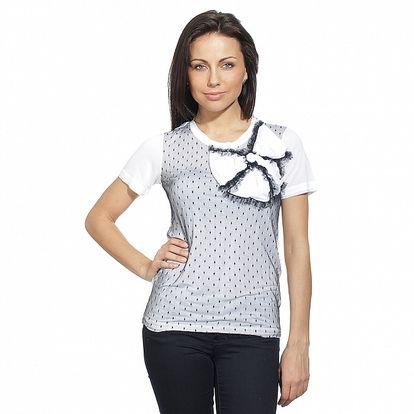Dámské černo-bílé triko s mašlí a krajkou Red Valentino