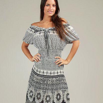 Dámske čierno-biele vzorované šaty so sťahovacími ramienkami Anabelle