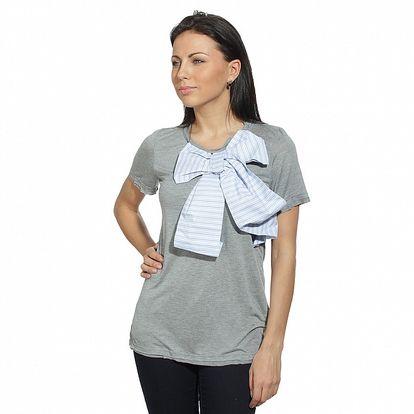 Dámské šedé triko s bledě modrou mašlí Red Valentino