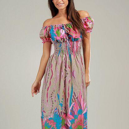 Dámske béžové maxi šaty s ružovými kvetinami Anabelle