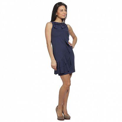 Dámske temne modré šaty so splývavými volánmi Red Valentino