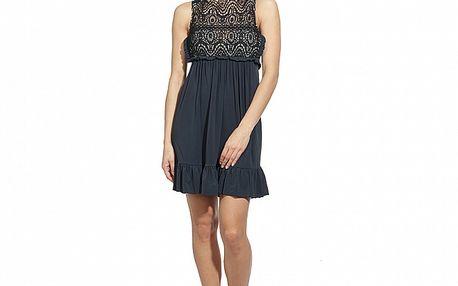 Dámske temne modré šaty s čipkovým živôtikom Red Valentino