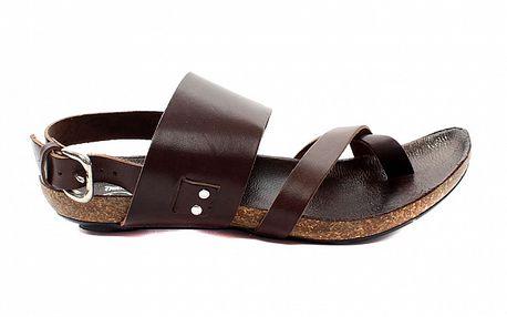 Dámske tmavo hnedé sandálky s korkovou podrážkou Bagatt
