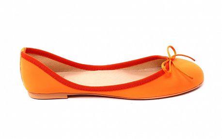 Dámske pomarančové baleríny s mašličkou Bagatt