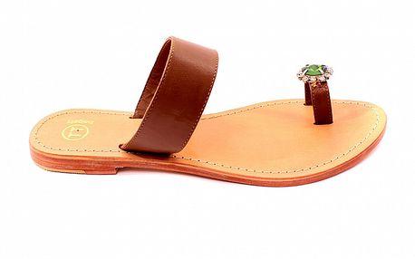 Dámské hnědo-béžové pantofle se zeleným kamenem Bagatt