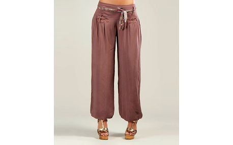 Dámské starorůžové harémové kalhoty s barevným páskem Anabelle