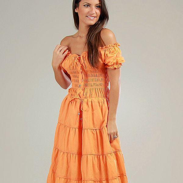 Dámské pomerančové volánové carmen šaty Anabelle