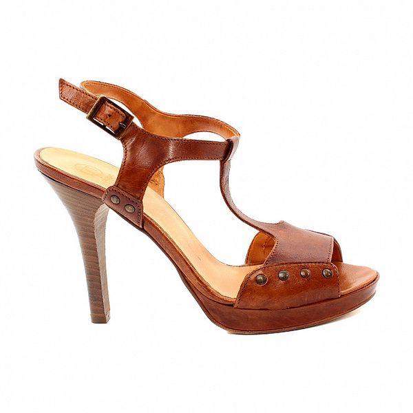 Dámske karamelové sandálky s cvčkami Bagatt