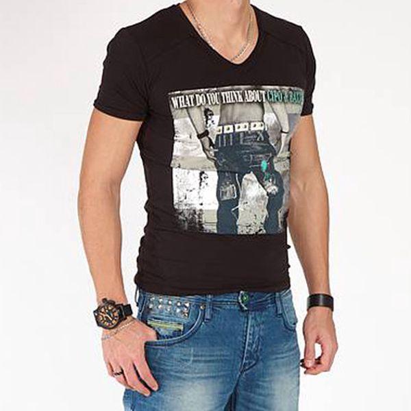 Černé tričko s potiskem
