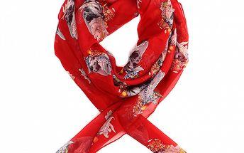 Dámský sytě červený hedvábný šátek Alexander McQueen s lebkami a růžemi