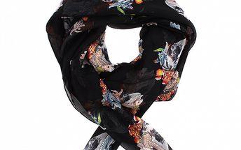 Dámsky čierny hedvábny šál Alexander McQueen s lebkami a lietajúcimi rybami