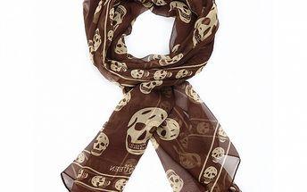 Dámsky čokoládovo hnedý hodvábny šál Alexander McQueen s lebkami