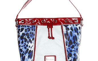 Modro-červená taška přes rameno