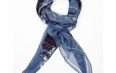 Dámsky modrý hodvábny šál Alexander McQueen s motýlmi a lebkami