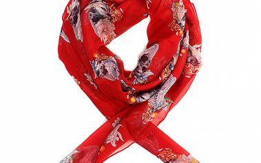 Dámsky sýto červený hodvábny šál Alexander McQueen s lebkami a ružami