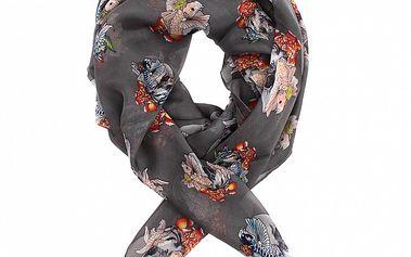 Dámský ocelově šedý hedvábný šátek Alexander McQueen s lebkami a látajícími rybami