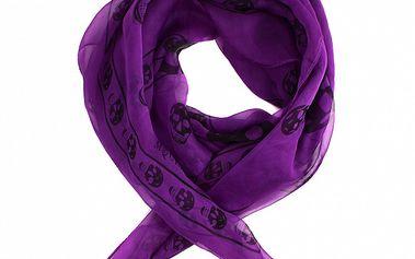Dámsky purpurový hodvábny šál Alexander McQueen s lebkami