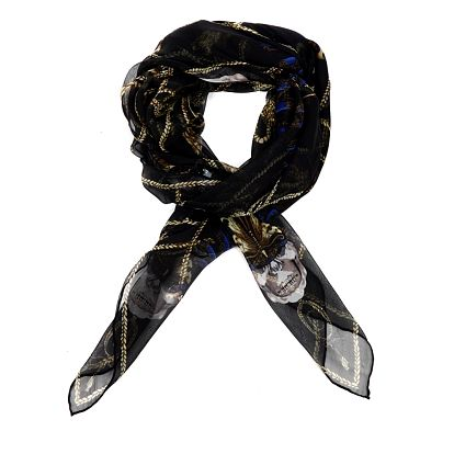 Dámsky čierny hodvábny šál Alexander McQueen s motýlmi a lebkami