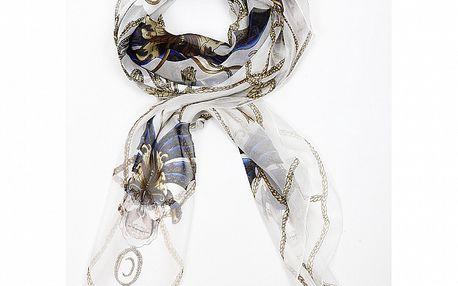 Dámský bílý hedvábný šátek Alexander McQueen s motýly a lebkami