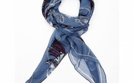 Dámský modrý hedvábný šátek Alexander McQueen s motýly a lebkami