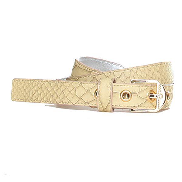 Béžový pásek s potiskem hadí kůže